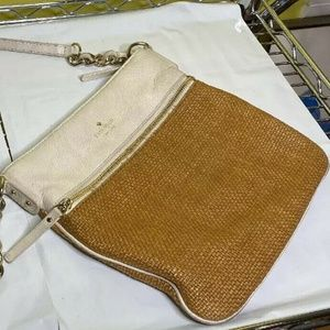 Kate Spade New York Straw and Off White Crossbody